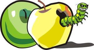 Två äpplen och larv Arkivbilder