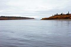 Två öar på floden Lena Arkivbilder