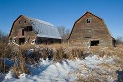 Två övergav ladugårdar i vinter Arkivbilder