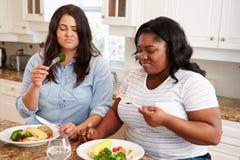 Två överviktiga kvinnor bantar på äta sunt mål i kök royaltyfri bild