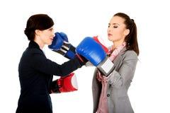 Två affärskvinnor med att slåss för boxninghandskar Royaltyfri Bild
