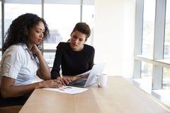 Två affärskvinnor som i regeringsställning som använder bärbar datordatoren möter Arkivfoto