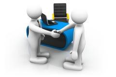Två affärsmän 3d skakar händer i ett kontor Arkivbild