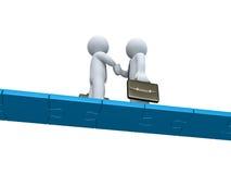 Två affärsmän gör ett avtal på en pusselbro vektor illustrationer