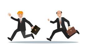 Två affärsmän med en portfölj i deras hand är sena för arbete Arkivbild