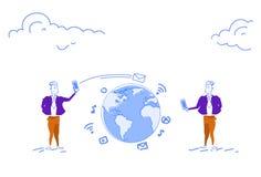 Två affärsmän som använder för pratstundkommunikation för smartphone online-mobil applikation för globalt begrepp, överför meddel vektor illustrationer