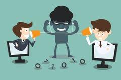Två affärsmän som talar med en en hackerspion som lyssnar Royaltyfri Bild