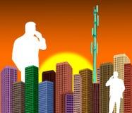 Två affärsmän som talar på mobiltelefonen vektor illustrationer