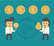 Två affärsmanChange idéer till pengar Arkivfoton
