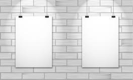 Två affischer på den vita tegelstenväggen Vektoråtlöje upp illustration stock illustrationer