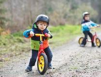 Två aktiva lilla siblingpojkar som har gyckel på cyklar i skog Royaltyfri Foto