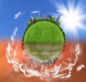 Två alternativ/sidor, ecobegrepp, digital konst för eco Fotografering för Bildbyråer