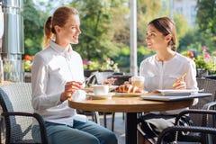 Två angenäma kollegor som diskuterar arbete på lunch royaltyfri foto