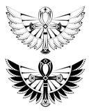 Två ankhs med vingar stock illustrationer