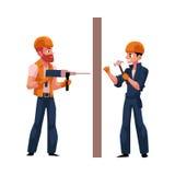 Två arbetare i hjälmar, overaller som borrar väggen som bultar spikar royaltyfri illustrationer
