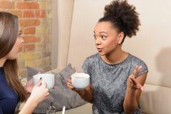 Två attraktiva flickor i kafét Royaltyfria Bilder