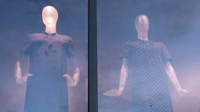 Två attrapper på gatan shoppar fönsterblick i olika riktningar Reflexion av morgon- eller aftonhimlen på exponeringsglaset double royaltyfria foton