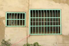 Två av det gallerförsedda fönstret för grön metall Royaltyfri Bild
