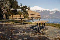 Två bänkar framme av en sjö Arkivfoton
