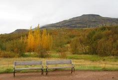 Två bänkar i Island Arkivbilder