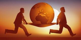 Två bårbärare bär jorden som är sjuk av global uppvärmning stock illustrationer