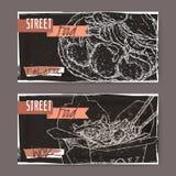 Två baner med falafelen och wokar skissar på svart bakgrund vektor illustrationer