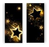 Två baner med guld- stjärnor royaltyfri illustrationer