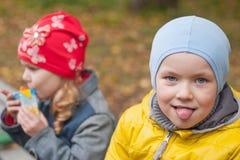 Två barn i en parkera i höst, stående Royaltyfri Foto