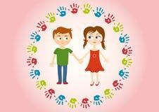 Två barn som amorously rymmer händer royaltyfri illustrationer