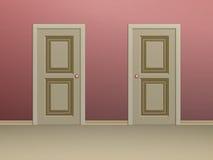 Två beiga paneled dörrar arkivbild