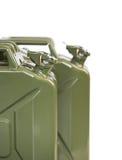 Två bensindunkar på vit Arkivfoton