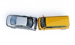 Två bilar som kraschas i olycka Beskådat uppifrån royaltyfri foto