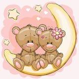 Två björnar på månen royaltyfri illustrationer