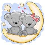 Två björnar på månen vektor illustrationer