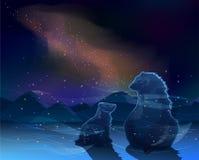Två björnar sitter och håller ögonen på Vintergatan i den kalla ofruktbar markvektorn Royaltyfri Fotografi