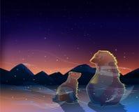 Två björnar som håller ögonen på soluppgången i den kalla ökenvektorn Arkivbild