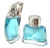 Två blåa glasflaskor fotografering för bildbyråer