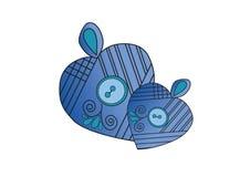 Två blåa hjärtasymboler Arkivbild