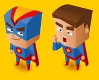 Två blåa superheroes Arkivfoto
