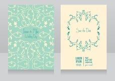 Två blom- bröllopkort, mintkaramellfärg vektor illustrationer