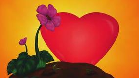 Två blommor som flyttar sig, medan hjärta är verka och bli större stock illustrationer