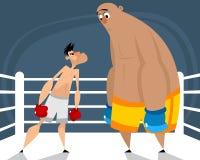 Två boxare i cirkeln royaltyfri illustrationer