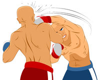 Två boxare på cirkeln royaltyfri illustrationer
