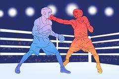 Två boxare på cirkeln på blå bakgrund Royaltyfri Fotografi