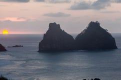 Två bröder Fernando de Noronha Island Arkivfoto