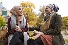 Två brittiska muslimska kvinnor som äter lunch parkerar in, tillsammans Arkivbild