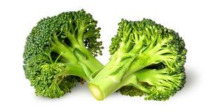 Två broccoliflorets beside Royaltyfria Foton