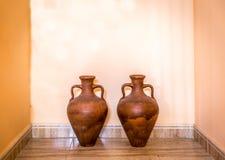 Två bruna dekorativa amfora arkivbilder