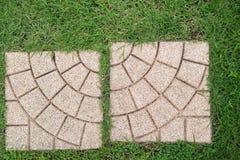 Två bruna gångbanor har grönt gräs i parkera royaltyfria foton