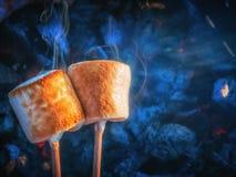 Två bruna söta marshmallower som grillar över brandflammor Marshmallow på steknålar som grillas på kol royaltyfri fotografi